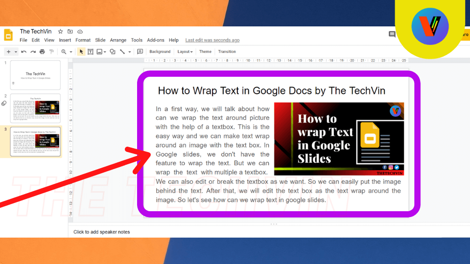 the text is perfectly wrapped around the the image in google slides