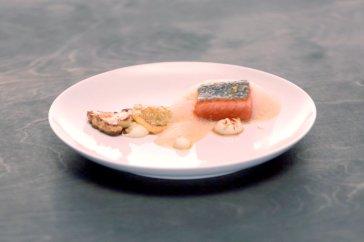 Jeremy's Lobster ravioli with shellfish sauce and king salmon