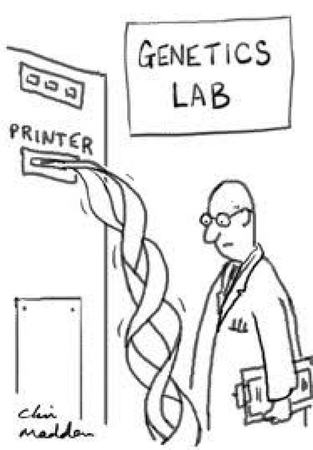 printing a double helix in a genetics lab