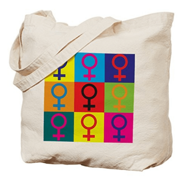 Feminist pop art tote bag