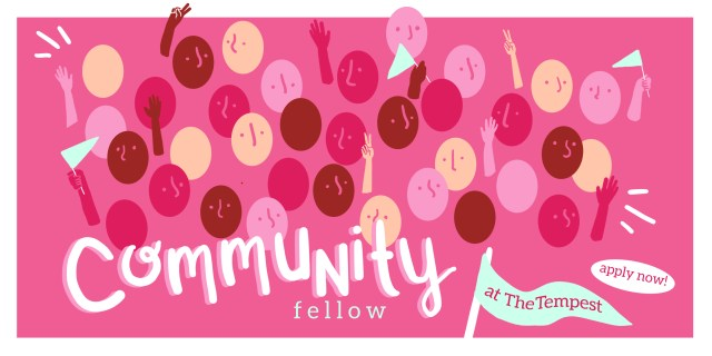 A group of people on the graphics representing a community on a pink background. Text: Community fellow. Apply now