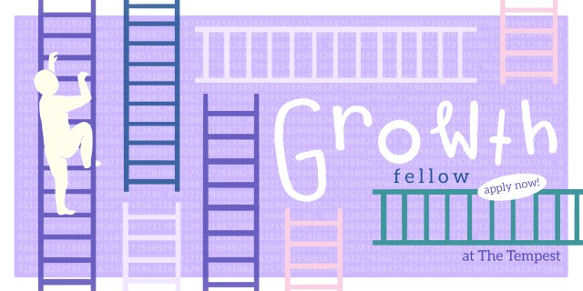 Image has text Growth fellow and Apply now. Image has ladders in different colors over a purple background. A white silhouette is climbing up one of the ladders.