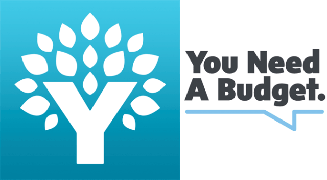 You Need a Budget Logo with leaves sprouting from a capital Y on the right side and the text You Need a Budget. underlined by a blue line on the right side