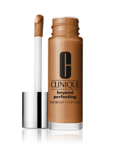 [Image description: Clinique's Beyond Perfecting Foundation with the angled doe foot applicator on a white background] via Clinique.com