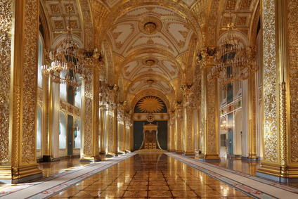 Russia, Moscow, Grand Kremlin Palace - historical old building built from 1837 to 1849, at the present time the ceremonial residence of the President of Russia. St. Andrew's hall (throne hall)