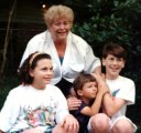 Janie and her grandkids, Kate, Justin and Evan - 1990's Gulfport, Harrison, Mississippi, USA at Hungry Hill, 1711 Wisteria Street.
