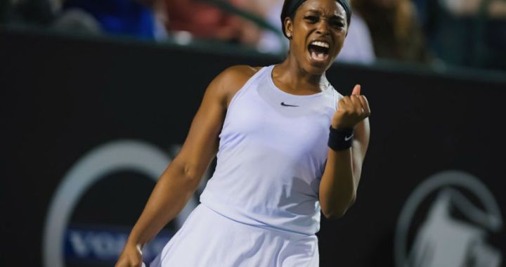 Sloane Stephens advanced to the quarterfinals of the Volvo Car Open tournament