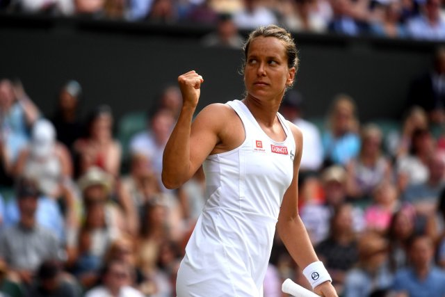Wimbledon. Barbora Strycova fights with Serena Williams for reaching the final