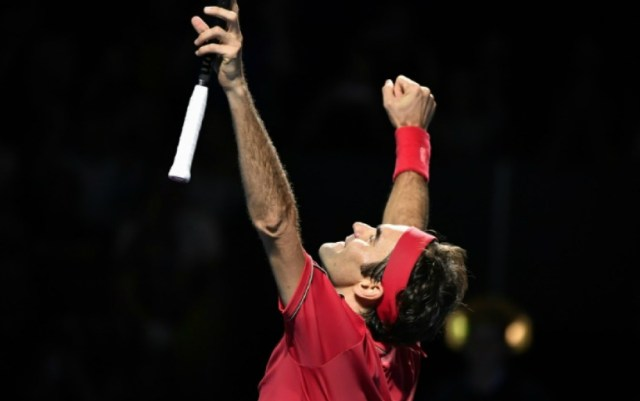 Roger Federer traditionally celebrated his victory in Basel