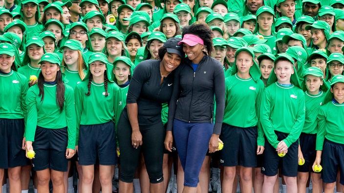 Serena and Venus William Meet the Ball Kids for the Australian Open 2017