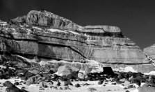 Exposed bedrock. Beacon sandstone with dark dolerite intrusions (Nov 2011)