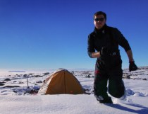 Running at camera. Camp with view of Ross Sea (Jan 2013)