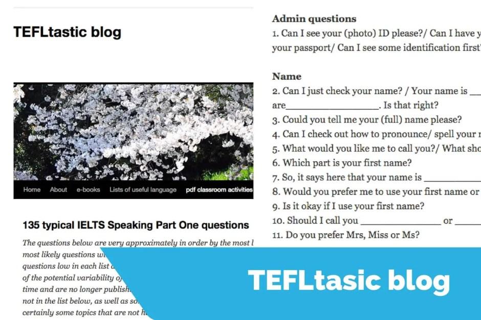 tefltastic speaking sample questions