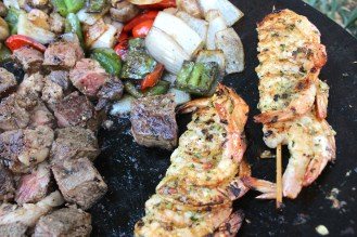 Grilled Chicken Shrimp Ribeye Pineapple kabobs on the Twok Grill