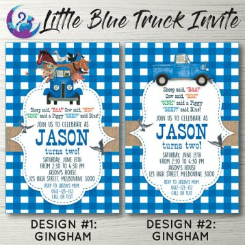 The little blue truck calebs first birthday the things im learning once i found the invitations it was easy to put everything else together i ordered blue gingham table clothes dinner plates im all about easiness when filmwisefo