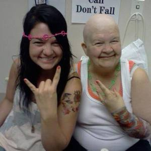 "My mom and I at her ""Rock on!"" Chemo party"