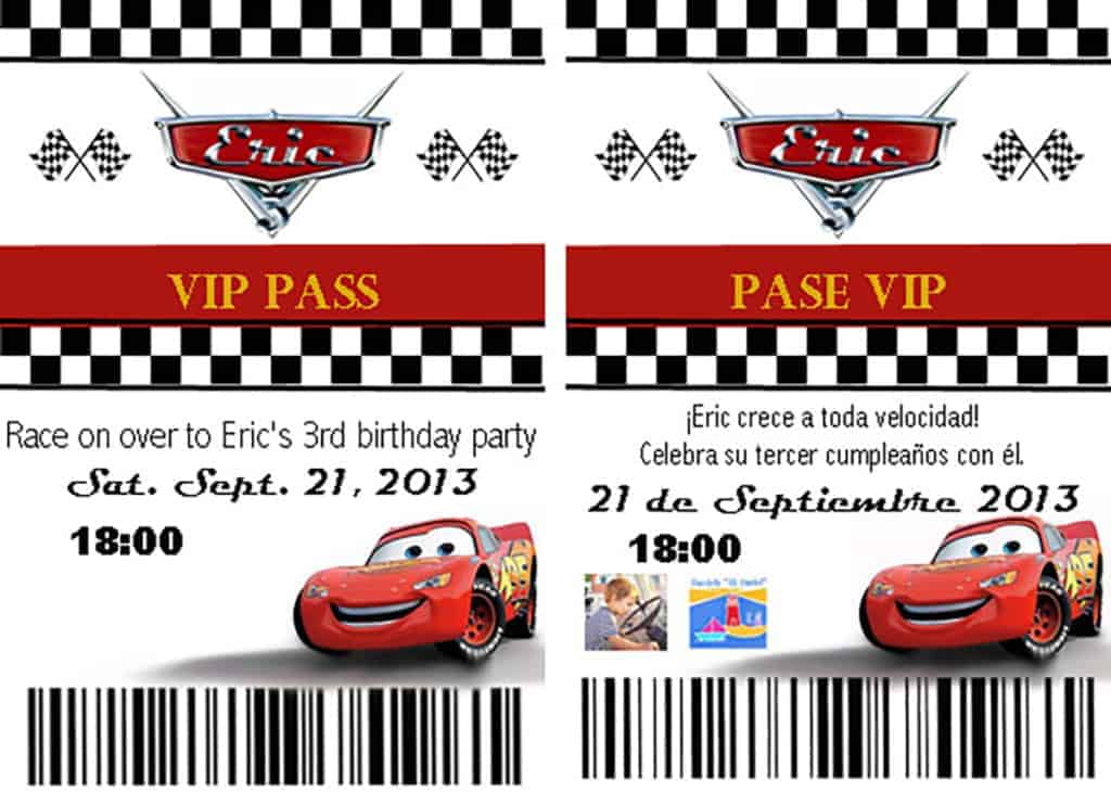 homemade cars pit pass invitation
