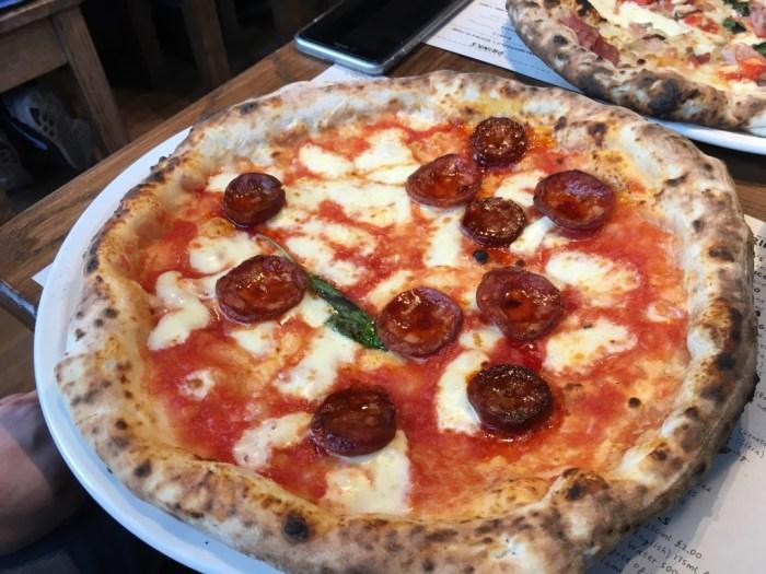The No. 6 pizza - mozzarella and chorizo