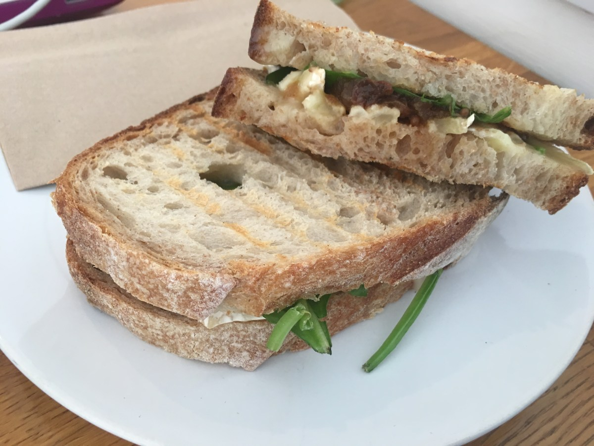 Brie, spiced apple chutney and spinach sourdough