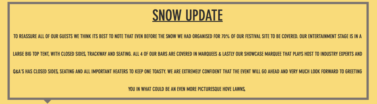 A snow update ahead of the event