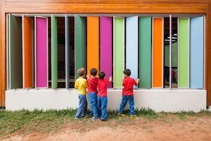 Photo of bright-colored architecture for children.