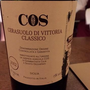 2012 COS Cerasuolo di Vittoria Classico at Aldo Sohm Wine Bar. ©2015 Lucy Mathews Heegaard