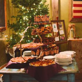 dessert bar with mini pecan pies, brownies, and dirt pudding