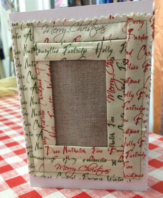 Fabric frame home made card