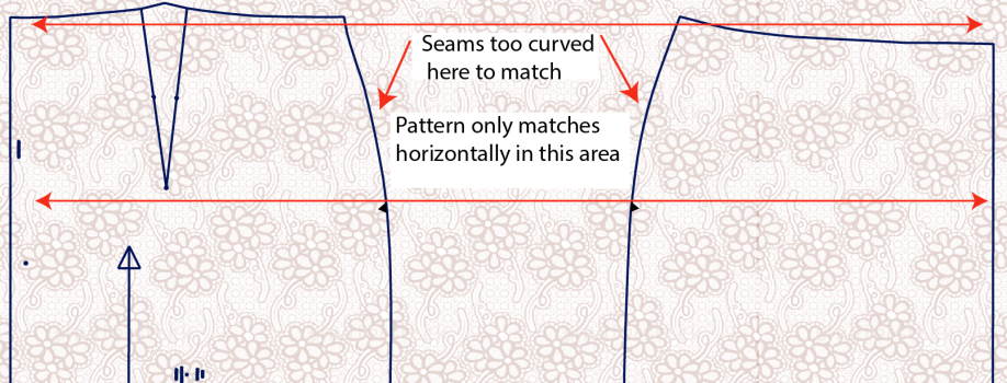Pattern matching fabric across curved seams