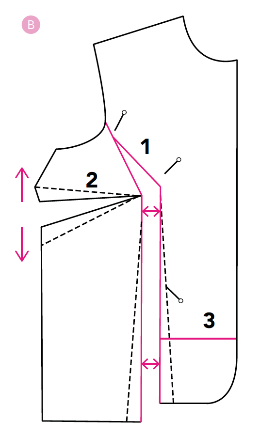 spreading a pattern to create a full bust adjustement