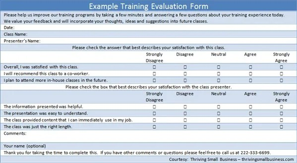 Training Evaluation Template simple training evaluation pdf – Sample Training Survey