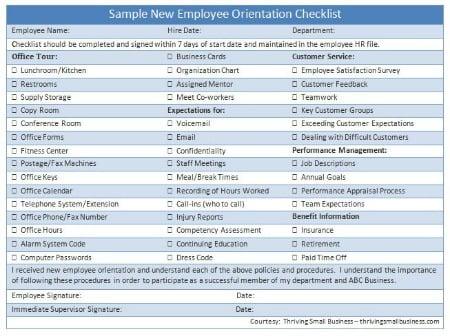 Sample New Employee Orientation Checklist The Thriving