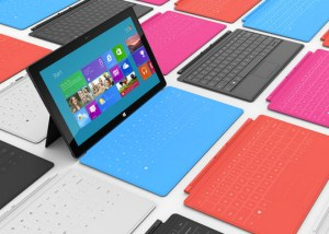 Microsoft Surface with multi-coloured touch covers