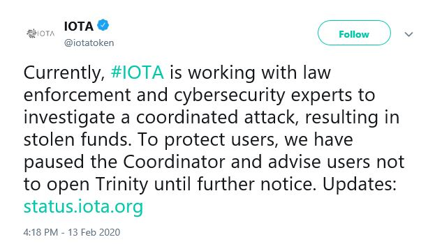 IOTA Blockchain Tweet