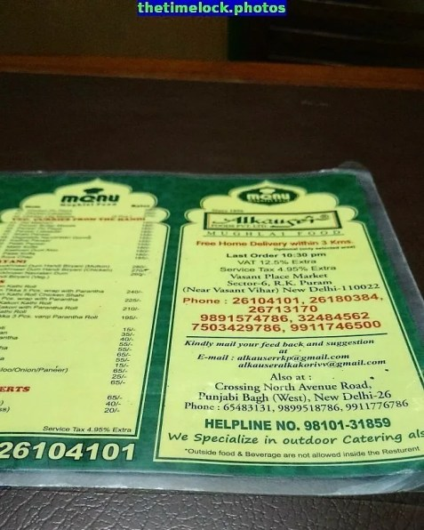 Nicely designed menu of Alkakori Alkauser