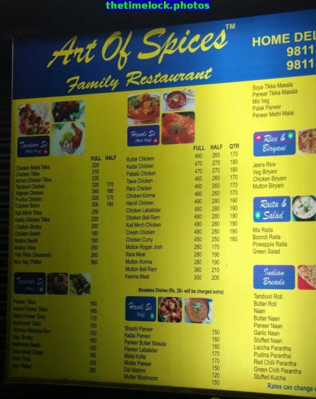 menu at art of spices