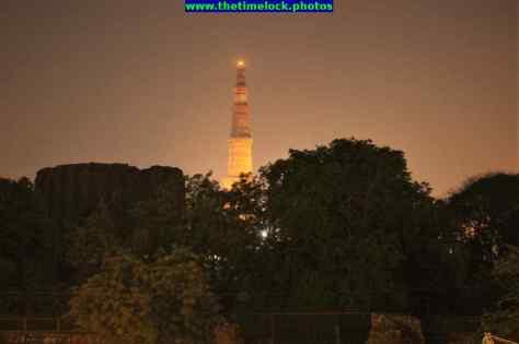 View of Qutub Minar in night