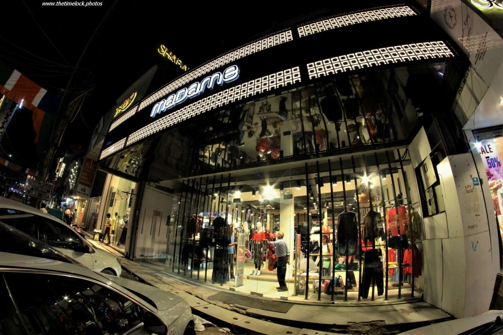 store front captured with fish eye lens