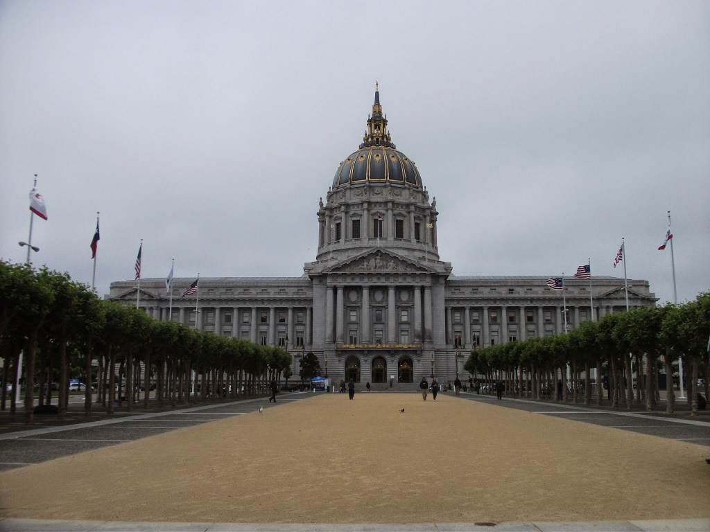 Homeless people outside City Hall, San Francisco