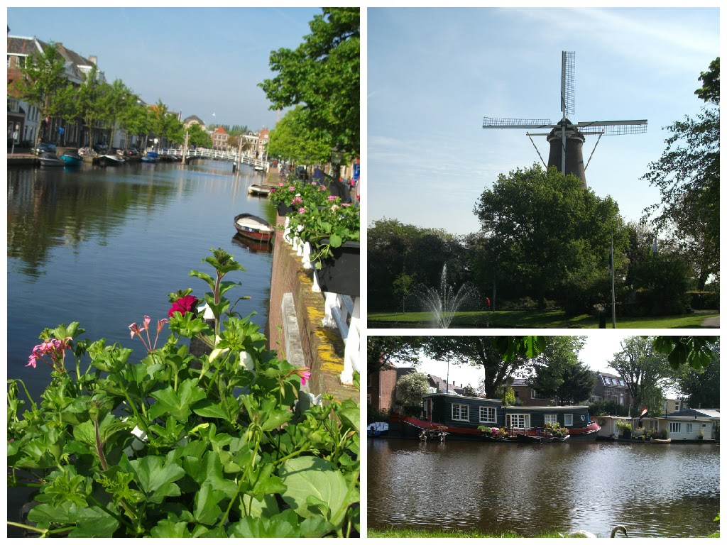 The Leiden waterways, Valk Windmill and some houseboats