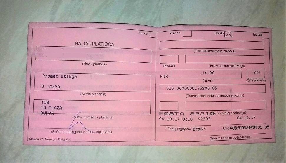 Tourist Registration Slip from Montenegro
