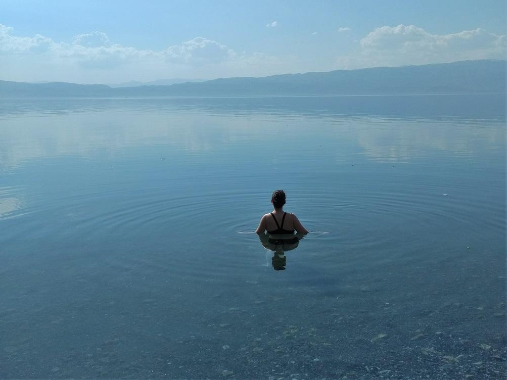 Swimming in Lake Ohrid, Macedonia