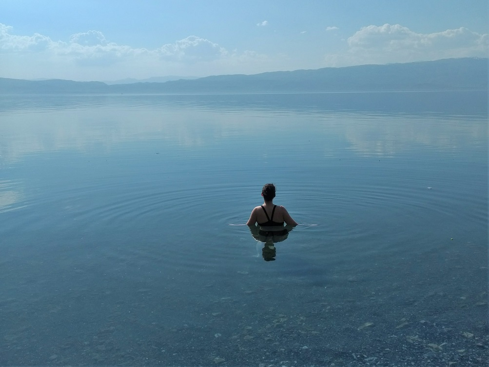Swimming in Lake Ohrid, Macedonia
