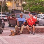 Two guys and a puppy at Mallory Square Key West FL