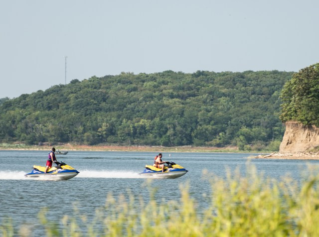 Jet skis on water at Perry State Park Kansas