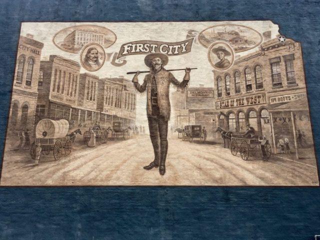Mural of Buffalo Bill Cody in downtown Leavenworth Kansas