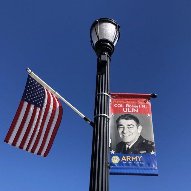 Sign honoring Military Veteran in the Historic Downtown Leavenworth Kansas