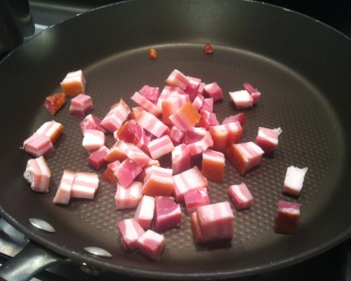 Add chopped Pancetta to a frying pan. No need for Olive oil