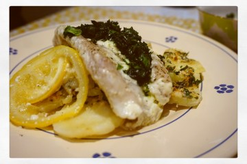 Poached Fish with Lemon Parmesan, potato bake.