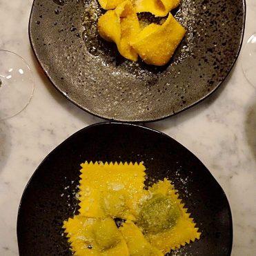 Spinach and Ricotta Ravioli; Butternut squash Tortellini